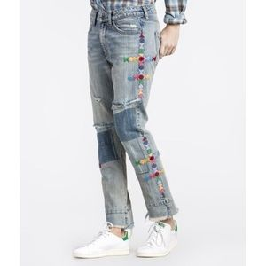 MM Vintage Distressed Boyfriend Embroidered Jeans